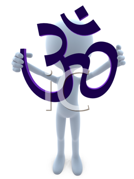 Royalty Free Clipart Image of a 3D Man Holding the Ohm Symbol