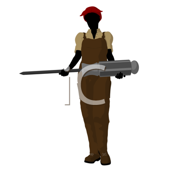 Royalty Free Clipart Image of a Female Mechanic With a Screwdriver