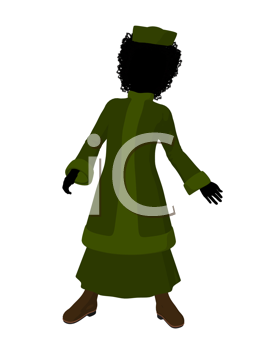 African american victorian girl art illustration silhouette on a white background