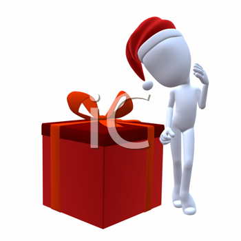 Royalty Free Clipart Image of a 3D Guy With a Christmas Present