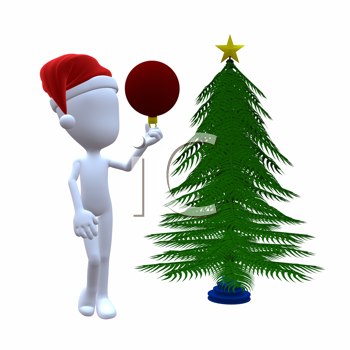 Royalty Free Clipart Image of a 3D Guy Decorating a Christmas Tree