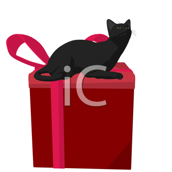 Royalty Free Clipart Image of a Black Cat and a Gift