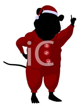 Royalty Free Clipart Image of a Mouse in Christmas Pyjamas