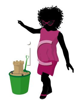Royalty Free Clipart Image of a Girl With Sand Toys