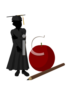 Royalty Free Clipart Image of a Graduate Beside a Large Apple and Pencil