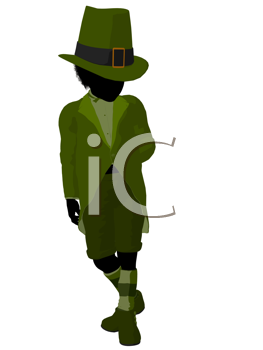 Royalty Free Clipart Image of a Leprechaun Girl Silhouette