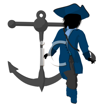 Royalty Free Clipart Image of a Little Pirate With an Anchor