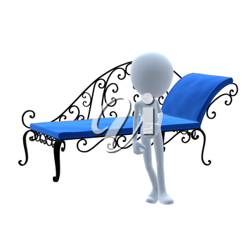 Royalty Free Clipart Image of a 3D Guy With Patio Furniture