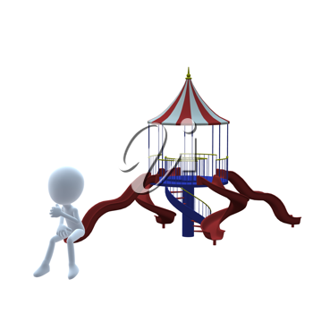 Royalty Free Clipart Image of a 3D Guy on a Slide