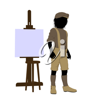 Royalty Free Clipart Image of a Little Artist and Easel