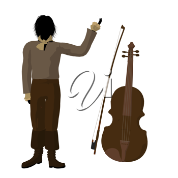 Royalty Free Clipart Image of a Man With a Violin