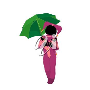 Royalty Free Clipart Image of a Child Clown With an Umbrella
