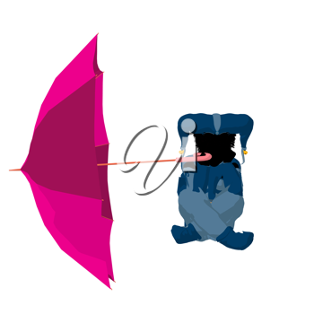 Royalty Free Clipart Image of a Little Jester With an Umbrella