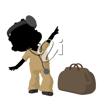 Royalty Free Clipart Image of a Little Girl Dressed Like a Doctor