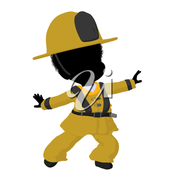 Royalty Free Clipart Image of a Child in a Firefighter Costume