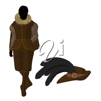 Royalty Free Clipart Image of an Elizabethan Man With a Hat