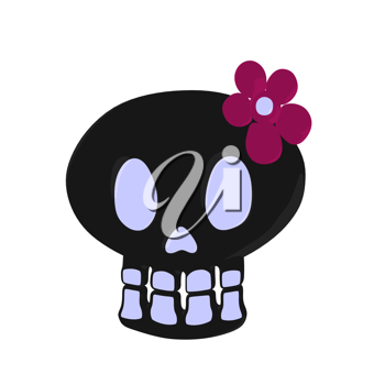 Skull with a flower illustration on a white background