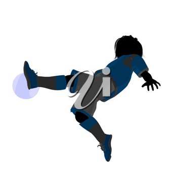 Royalty Free Clipart Image of a Child Playing Soccer