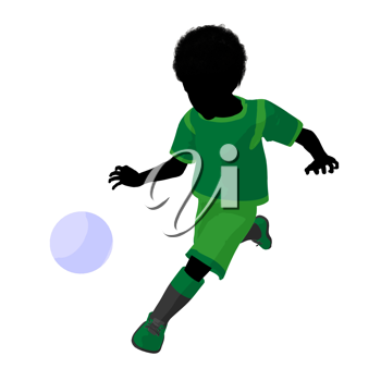 Royalty Free Clipart Image of a Little Boy Playing Soccer