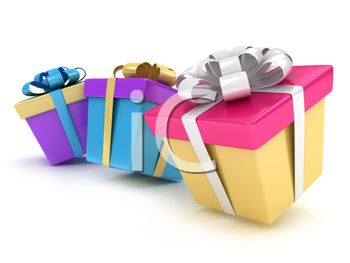 3D Illustration of Gifts with Different Wrappings