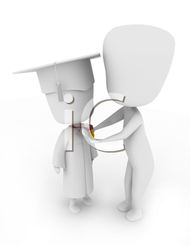 3D Illustration of a Teacher Placing a Medal on a Child's Neck