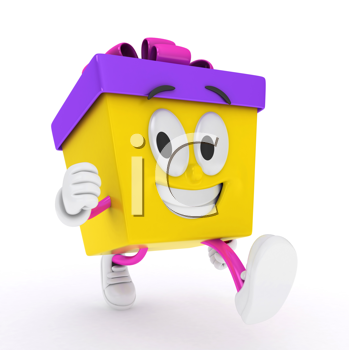 3D Illustration of a Running Gift