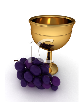 3D Illustration of a Chalice with Some Grapes Beside it