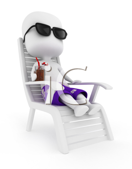3D Illustration of a Man Relaxing with a Drink