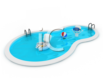 3D Illustration of Kids in the Pool