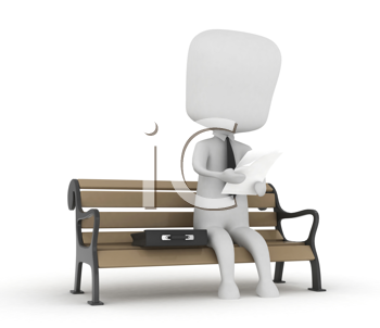 3D Illustration of a Man Reading Documents While Sitting on a Bench