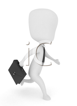 3D Illustration of a Man Hurrying on His Way to Work