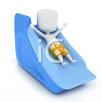 3D Illustration of a Kid Sliding Down