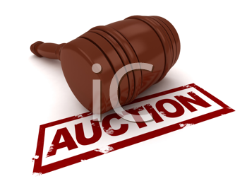 3D Illustration of a Gavel Placed Near the Word Auction