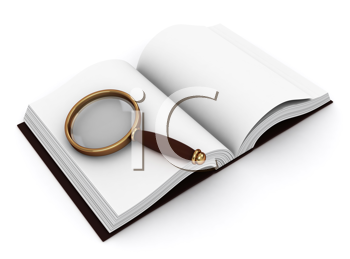3D Illustration of a Book and a Magnifying Glass