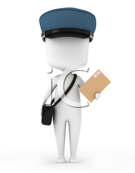 3D Illustration of a Mailman Carrying a Letter