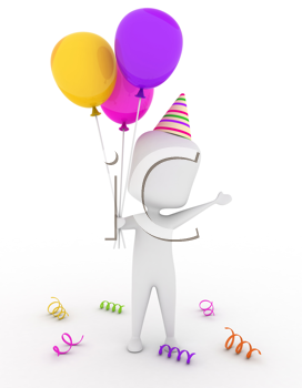 3D Illustration of a Man Wearing a Party Hat Holding Some Colorful Balloons