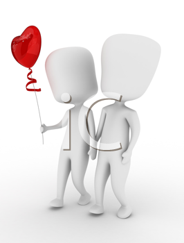 3D Illustration of a Couple Holding Hands While Walking Side by Side