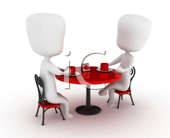 3D Illustration of a Couple on a Date