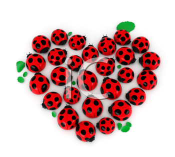 3D Illustration of a Group of Ladybugs Forming the Shape of a Heart