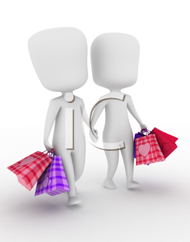 Illustration of a Couple Walking Side by Side After Going on a Shopping Spree