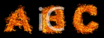 Set of Fire letter ABC on a black background
