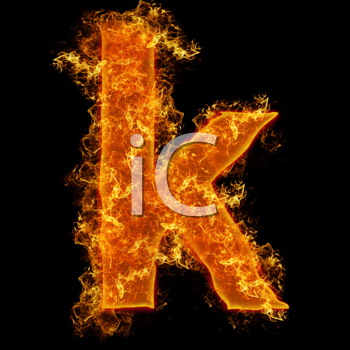 Fire small letter K on a black background