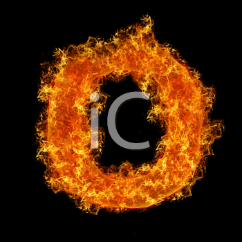 Fire letter O on a black background