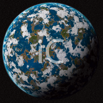 Blue planet in outer space