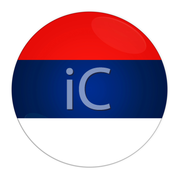 Abstract illustration: button with flag from Serbia country
