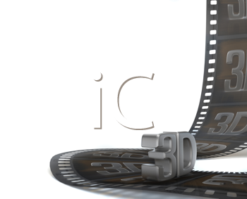 Royalty Free Clipart Image of 3D Television Film