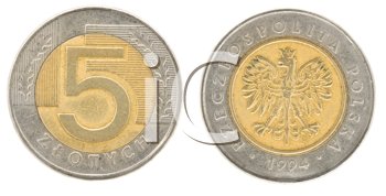 Royalty Free Clipart Image of Five Zloty - Money of Poland