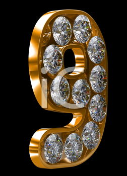 Royalty Free Clipart Image of a Golden Number Nine Incrusted With Diamonds