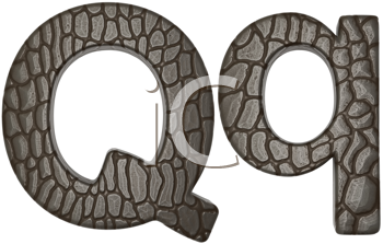 Royalty Free Clipart Image of Alligator Skin Font Q Lowercase and Capital Letters