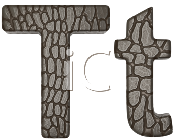 Royalty Free Clipart Image of Alligator Skin Font T Lowercase and Capital Letters